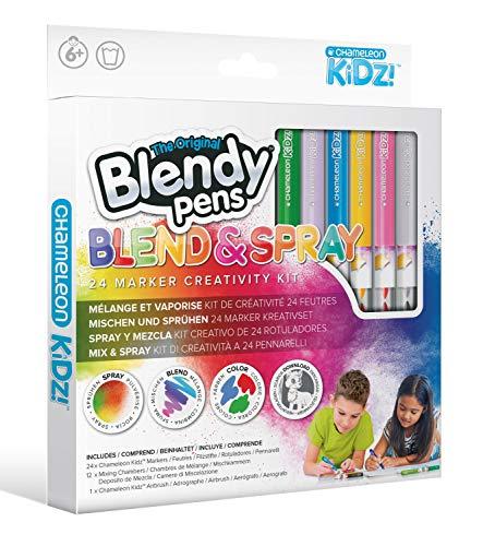 Blendy Pens Lot de 24 feutres, 12 crayons de couleur, 1 aérographe, 24 couleurs pour de superbes dégradés de couleur, kit créatif pour enfants à partir de 6 ans