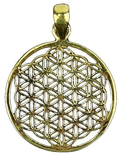 Raum der Stille Blume des Lebens Messing Anhänger goldfarbig, Durchmesser 3cm, mit Brokatbeutelchen und 1m Wachskord