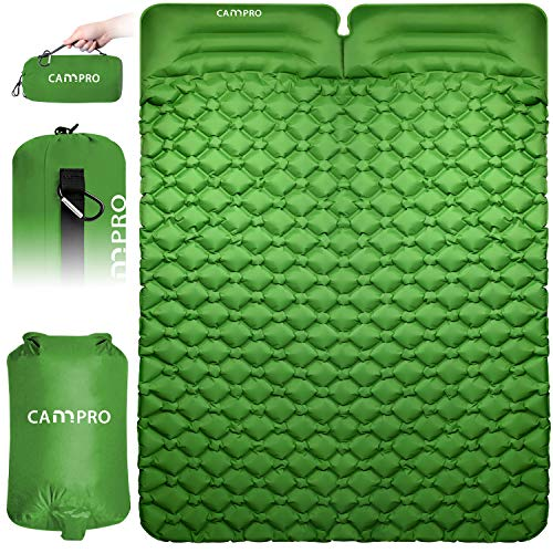 Cannpro Double Camping Pad with 2 Pillows, Inflatable 2 Person Large Sleep Mat, Comfort Sleeping Pad - Lightweight Portable Air Mattress for Tent Backpacking Hiking - Includes Pump Sack (Green)