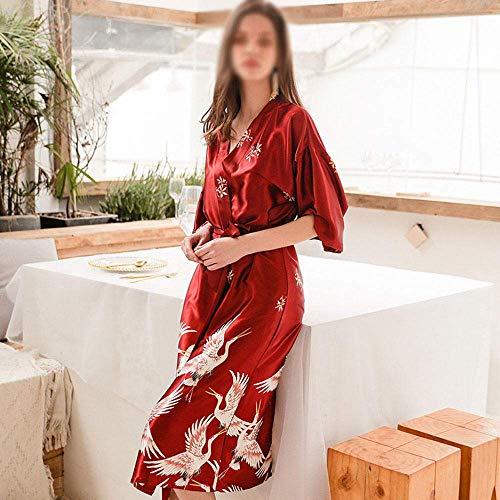 HYM 2019 Bata Mujer, Pijama De Seda De SimulacióN De CamisóN De Mujer,Red-XXL
