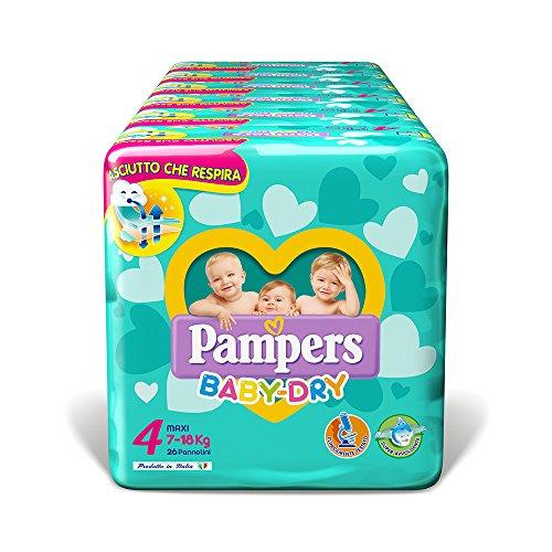 Pampers Baby Dry Pannolini Maxi, Taglia 4 (7-18 kg), 6 Confezioni da 26 (156 Pannolini)
