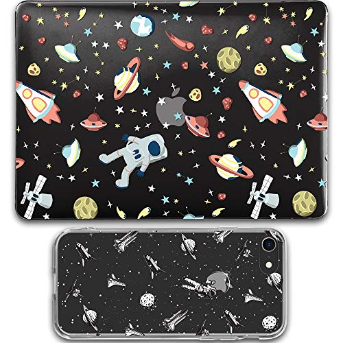 GMYLE MacBook Air 13 Inch Case A1466 A1369 Old Version 2010 2017 Black, iPhone 7 8 Case Cover Soft Rubber Clear 2 in 1 Set (Space Walk)