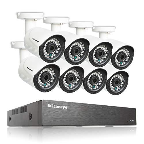 Faconeye 8 Canales 1080P DVR Kit Sistema de cámara de vigilancia con 8pcs 2MP Cámaras Tipo Bala de Seguridad para Interiores y Exteriores Grabación Inteligente Visión Nocturna Acceso Remoto