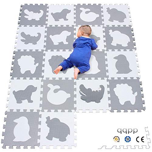 qqpp Alfombra Puzzle para Niños Bebe Infantil - Suelo de Goma EVA Suave. 18 Piezas (30*30*1cm), Animales, Blanco & Gris. QQP-51(AL) b18N