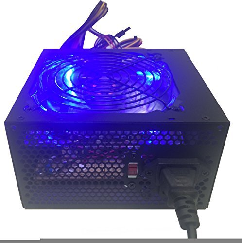 Shark Technology 750 Watt Quiet 120mm Blue LED Fan Black ATX 12V 2.0 PSU with All Braided Sleeving Cables and PCIe Power Connector Gaming PC System Power Supply
