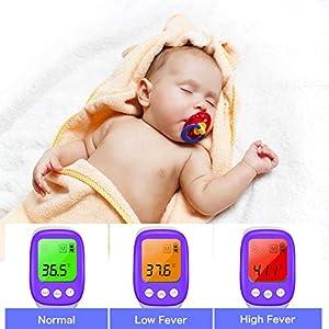 Fieberthermometer Stirnthermometer, Boriwat infrarot Stirnthermometer kontaktlos, 3 in 1 digitales Thermometer für Babys, Erwachsene, mit dreifarbiger LCD-Display