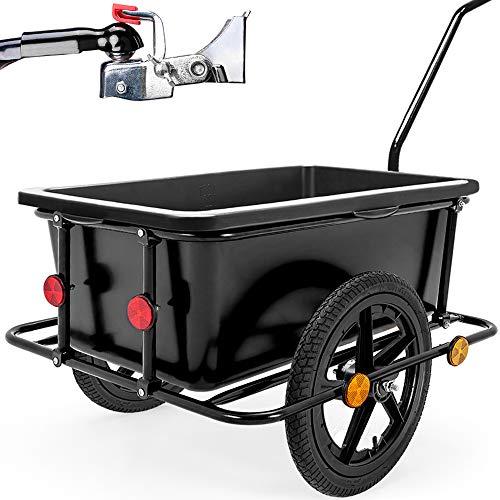 Deuba Remolque para Bicicletas para Carga de Equipaje máx.80Kg 90L 78x61x50cm Negro Carretilla de Transporte cargamento