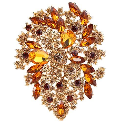 EVER FAITH Broche para Mujer Cristal Austríaco Fiesta Vintage Estilo Flor Hoja Racimo Color Topacio Tono Dorado