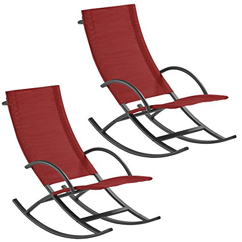 Thompson & Morgan Garden Rocking Chair Outdoor Gravity Sun Lounger (Twin Pack, Red)