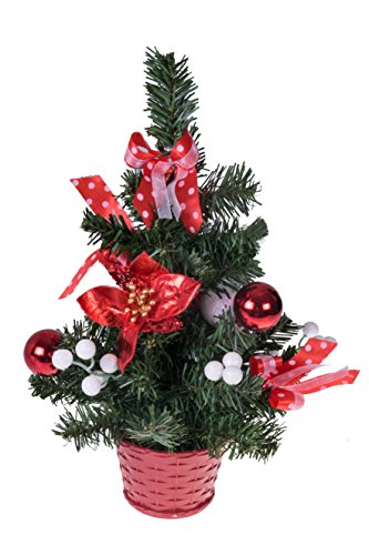 Clever Creations Mini Artificial Christmas Tree with Poinsettia, Ribbon, Ball Ornaments Red and White Christmas Decor | Decoration for Home and Office | 14' Tall Perfect for Table and Desk Tops