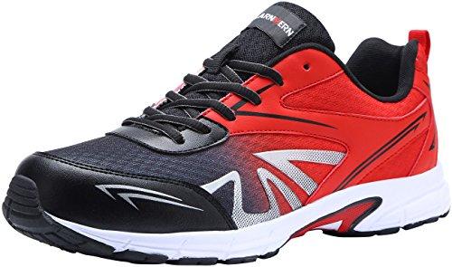 LARNMERN Baskets de Sécurité Hommes, LM-1805 Respirables Ultra Légères Antidérapante Chaussures de Travail, Rouge, 45 EU