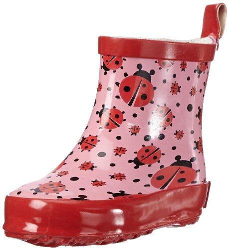 Playshoes Kinder Halbschaft-Gummistiefel aus Naturkautschuk, trendige Unisex Regenstiefel mit Reflektoren, mit Käfer-Muster, Pink (original 900), 25