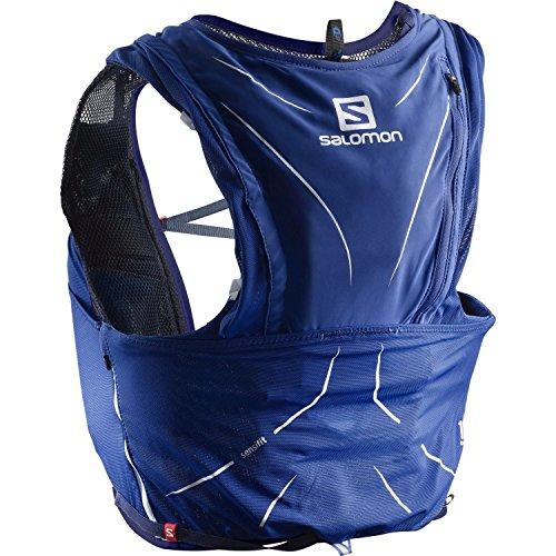 Salomon Mochila ligera para running, senderismo o ciclismo, 12 L, 42 x 20 cm, 395 g, ADV SKIN 12 SET, Talla: XXS, Azul, L40138400