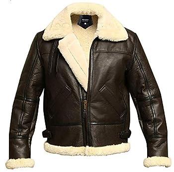 Men B3 Bomber Aviator Shearling Sheepskin Leather Winter Jacket Brown Large