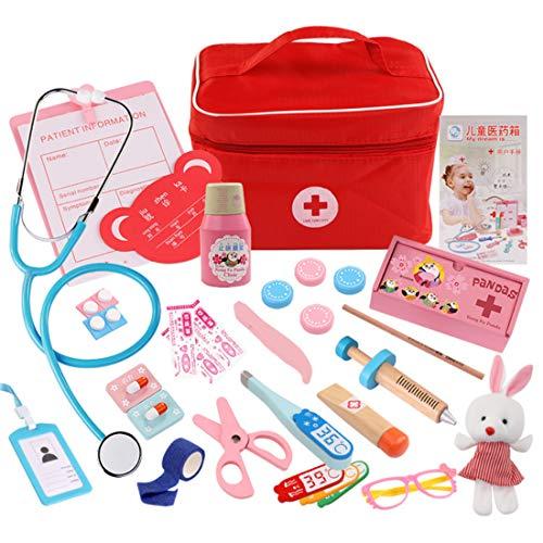 Foxom 31 Pz Kit Dottore Giocattolo Legno Valigetta Dottore Bambini Gioco di Ruolo Dottore Giocattolo Borsa Dottore Gioco Kit Set per Bambini 3 Anni