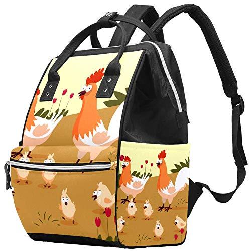 Bennigiry Little Chicks and Hens Sac à langer Grande capacité Sac à dos de voyage Sac à langer Organisateur multifonction pour bébé pour maman