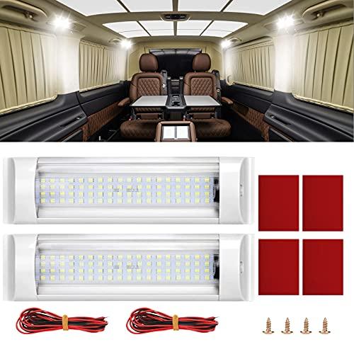 Luces LED interiores de coche de 12 V-85 V, kit de barra de luces blancas de techo de 12 W 72 LED con interruptor de encendido/apagado para autocaravana, caravana, camioneta, camión 2 piezas