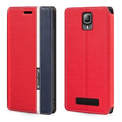 Schutzhülle für Lenovo A1000, modisch, mehrfarbig, Magnetverschluss, Leder, Klapphülle mit Kartenfächern für Lenovo A1000 (4 Zoll)