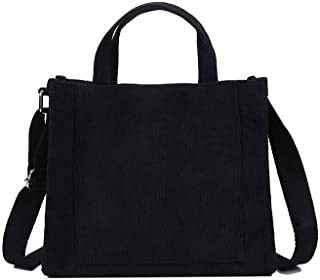 Ulisty Damen Cord Klein Beuteltasche Beiläufig Schultertasche Handtasche Umhängetasche schwarz