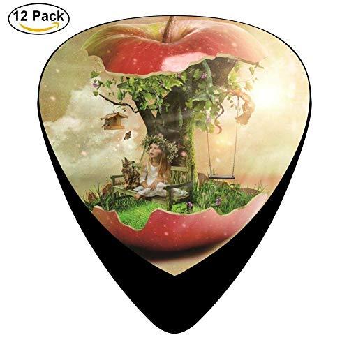 Sherly Yard Selecciones de guitarra de celuloide para guitarra acústica, Print Apple Tree, paquete de 12
