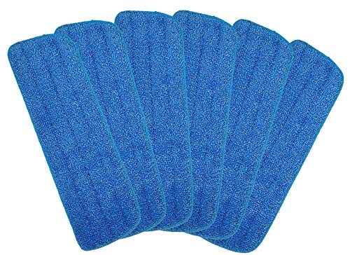 Microfiber Spray Mop Replacement Heads for Wet/Dry Mops Floor Cleaning Pads Compatible with Bona Floor Care System (6 Pack)