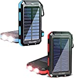 20000mAh Solar Power Bank Portable Solar Charger with Dual Flashlights Set of Two (Blue and Red)