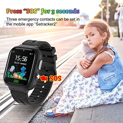 AOYMJRS Kinder Smartwatch, Tracker Smartwatch für Kinder LBS Telefon Wasserdicht IP67 Handyuhr Smart Watch Anruf Chat Wecker Digitales Spiel, Männer und Frauen Geburtstags (schwarz)