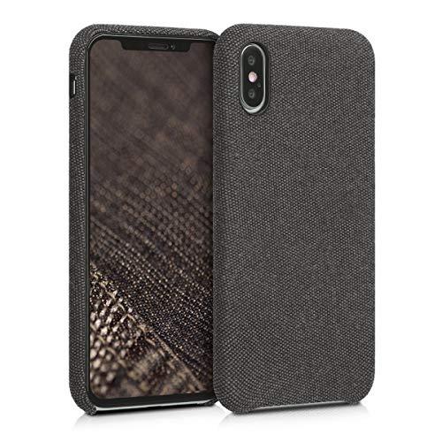 kwmobile Hülle kompatibel mit Apple iPhone XS - Stoff Hülle Handy Schutzhülle - Backcover Cover Schwarz