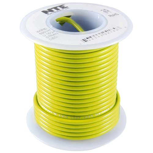 NTE Electronics WT22-04-25 Series WT Teflon Hook Up Wire, Type 22 Gauge, 19 Stranded, 25' Length, 600V, Yellow