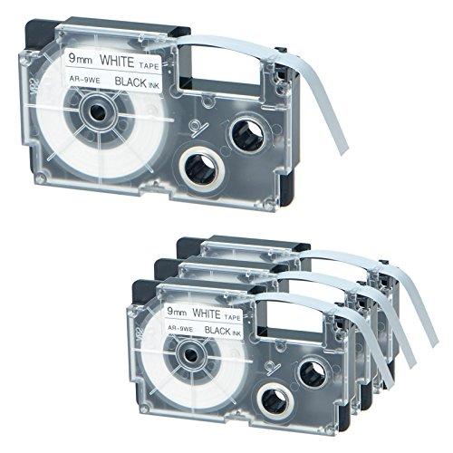 """NineLeaf 4 Pack Black on White Tape Cassette Compatible for XR9WE XR-9WE XR-9WE2S XR9WE2S Label Tape for KL-1500 KL-2000 KL-7000 KL-7200 KL-750 Label Maker (3/8"""" x 26ft, 9mm x 8m)"""