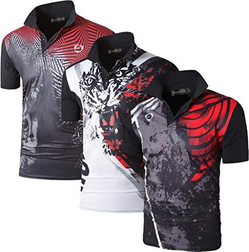 jeansian Ninos 3Pack Secado Rapido Deporte Activo Manga Corta Transpirable Polo T-Shirt Camiseta Top LBS715 MixPackA S