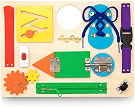 marsebia Montessori Busy Board for Toddlers - Activity Board for Fine Motor Skills, 3 Years Travel Toy with Basic Life Skills Activities - Wooden Sensory Toy for Boys & Girls, Multiple Colors