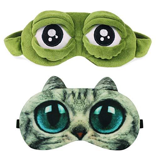 Schlafmaske Augenmaske Schlafbrille Frauen Kinder Herren Damen Frosch Katze Hund Muster Katzenmaske Interessant Einhorn 3D Schlafmaske Lustig