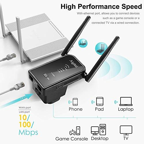 Aigital 300Mbit/s WLAN Repeater Verstärker Super Booster Extender Access Point mit LAN/WAN, WPS, 2.4GHz, Plug und Play, Mini kompaktes, kompatibel mit Modem ADSL, Abdeckung 2 bis 5 Räume & 20 Geräte