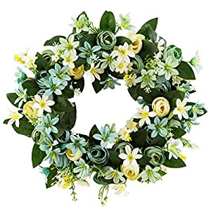 harygate 15 Inches Wreath for Front Door, Artificial Pink Peony Flower Wreath, Door Wreaths for Spring Summer All Seasons, Floral Wreath Garland for Farmhouse Office Home Wedding Decor