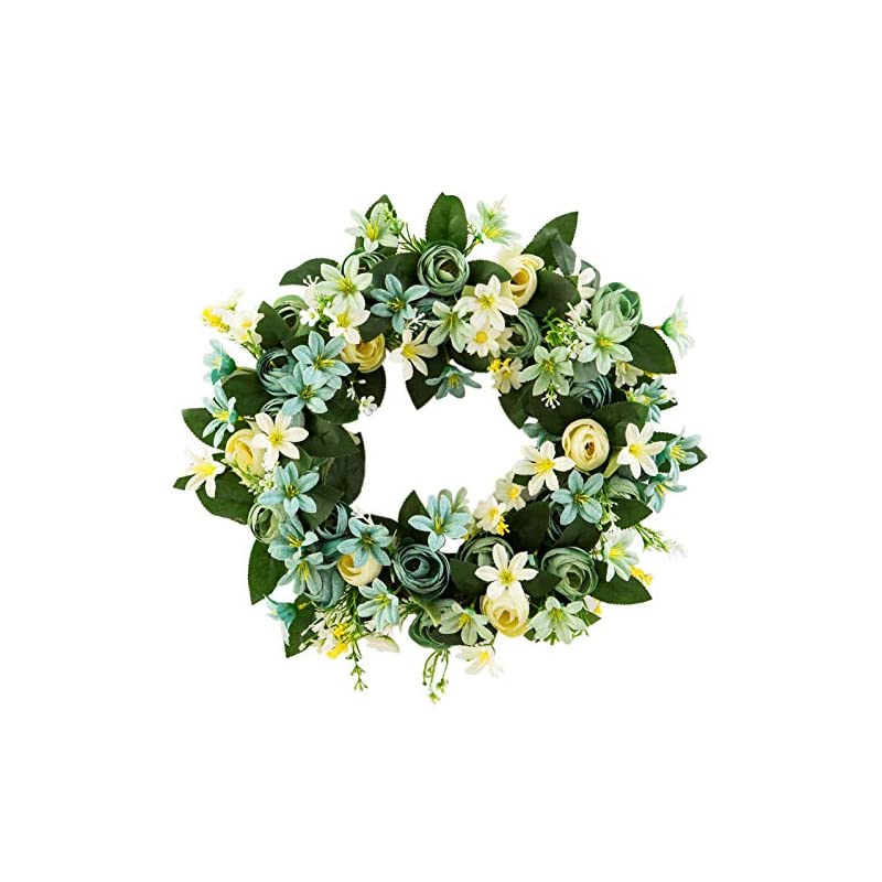 silk flower arrangements harygate 15 inches wreath for front door, artificial pink peony flower wreath, door wreaths for spring summer all seasons, floral wreath garland for farmhouse office home wedding decor