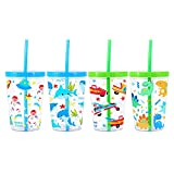 Home Tune 16oz Kids Tumbler Water Drinking Cup - BPA Free, Straw Lid Cup, Reusable, Lightweight, Spill-Proof Water Bottle with Cute Design for Girls & Boys - Shark, Car, Space, Dinosaur 4 Pack