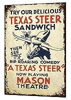 テキサスステアバーヴィンテージメタルサイン