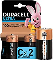 Duracell Ultra C con Powercheck, Pilas Alcalinas, Paquete de 2, 1.5 Voltios LR14 MX1400