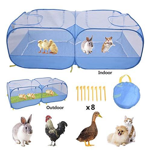 Ksruee Portable Chicken Run Coop, 73 25in Large Pliable Large Pop-Up Chicken Pen pour Rabbit Cage Small Animals, Enclos pour Animaux de Compagnie Outdoor Lapin Run