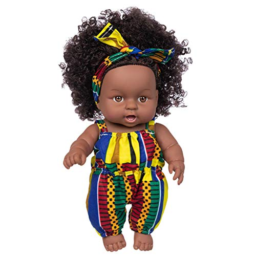 New Black Baby Doll, Washable Realistic Silicone Baby Dolls with Cute Clothes and Hairband, Best Gift for Kids Girls, Toys for Kids 3 to 8 Years Old, 9.84 Inch (C)
