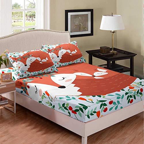 Juego de sábanas de dibujos animados de zorro y bebé, juego de cama para niños, niñas, adolescentes, animales, sábana ajustable, transpirable, Woodland Fox