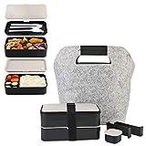 Fun Life Bento Box Lunchbox Brotdose Brotbüchse Zwei Fächern mit 1 schöne Tasche, 3-Teiligem robusten Besteckset & wasserdichter Bento-Gurt (Mit Saucenbox)