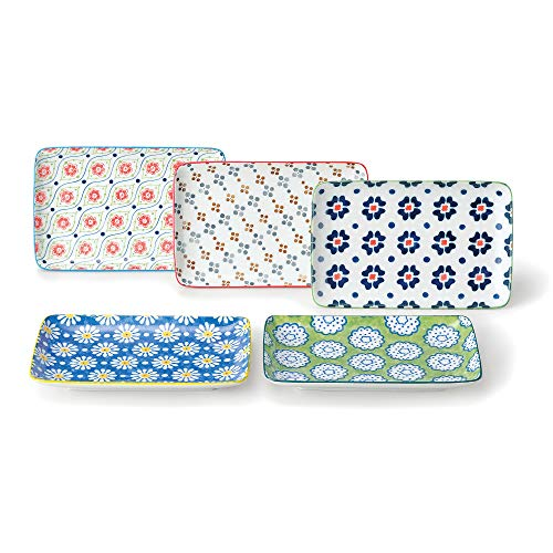GOTOUCHI Ceramic Rectangular Appetizer Plates Set of 5, Sushi Plate Premium Porcelain with Flower Blossom, Durable Delicate Dinnerware Sushi Platter, Best Gift for Sushi Enthusiast, Made in Japan