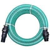 Nishore 10 m PVC Saugschlauch Sauggarnitur mit Anschlüssen Fußventil mit Sieb 22 mm Grün für Hauswasserwerken Wasserfiltern Gartenpumpen