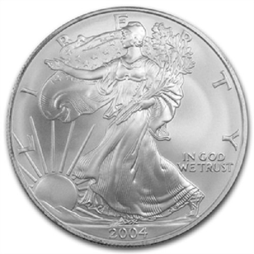 2004 - American Silver Eagle .999 Fine Silver with Our Certificate of Authenticity Dollar Uncirculated US Mint