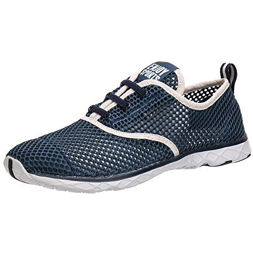 ALEADER Men's Quick Drying Aqua Water Shoes Blue 11.5 D(M) US