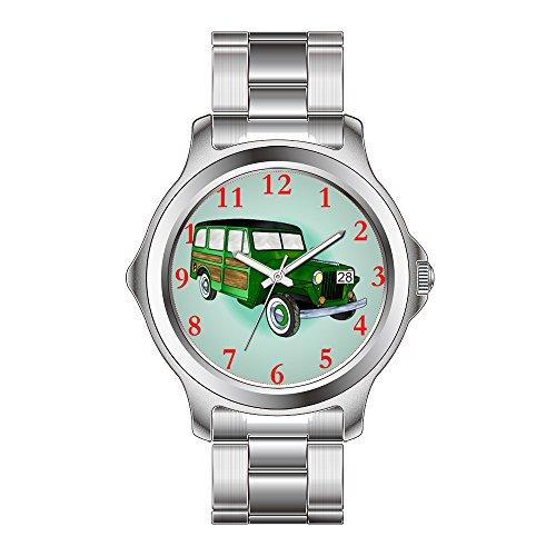FDC–Navidad regalo relojes hombre Fashion FECHA acero inoxidable reloj de pulsera de cuarzo japonés 1946Willys Jeep Wagon–verde reloj de pulsera