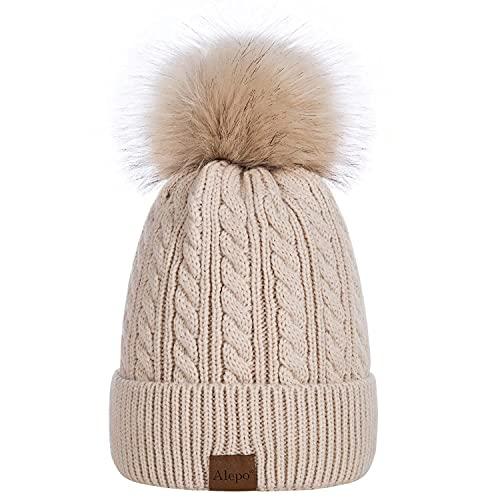 Alepo Womens Winter Beanie Hat, Warm Fleece Lined Knitted Soft Ski Cuff Cap with Pom Pom(Oatmeal)