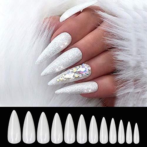 600 Stücke Lange Stiletto Falsche Nägel Tips Acryl Nail art Full Cover Gefälschte Nagel Set 12 Größen für Mädchen Nagelstudios oder DIY zu Hause